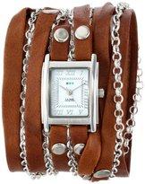 La Mer Women's LMCLIFTON003 Tobacco Silver Clifton Wrap Watch