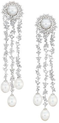 Hueb Gala 18K White Gold, Diamond & 7MM Round Pearl Chandelier Earrings