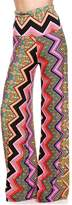Private Label Womens Fold Over Waist Wide Leg Palazzo Pants (M, Fuschia Chevron Abstract)