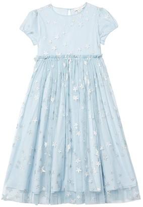 Stella Mccartney Kids Short Sleeve Silver Stars Tulle Dress (Toddler/Little Kids/Big Kids) (Blue) Girl's Clothing