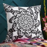 """CB2 20"""" Butterfly Wheel Black And White Pillow With Feather-Down Insert"""