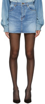 Saint Laurent Blue Denim Embroidered Logo Miniskirt