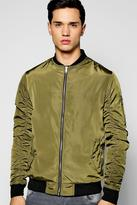 Boohoo Zip Through Bomber Jacket With Ruched Sleeves