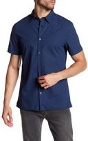 Vince Short Sleeve Plaid Trim Fit Shirt