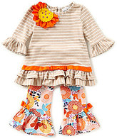 Rare Editions Little Girls 2T-6X Striped Floral-Applique Top & Floral Leggings Set
