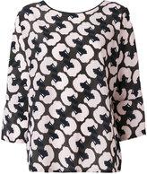 Odeeh poodle head print blouse - women - Silk/Cotton - 38