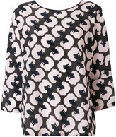 Odeeh poodle head print blouse - women - Silk/Cotton - 40