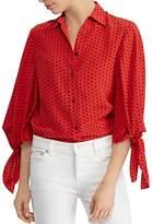 Lauren Ralph Lauren Silk Dotted Tie-Sleeve Top - 100% Exclusive