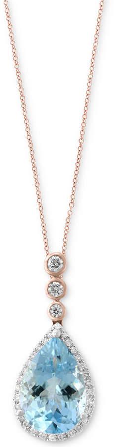 Effy Aquarius by Aquamarine (2-1/2 ct. t.w.) & Diamond (1/5 ct. t.w.) Pendant Necklace in 14k Rose & White Gold
