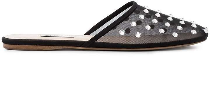 ATTICO black Gina jewel embellished mesh mules
