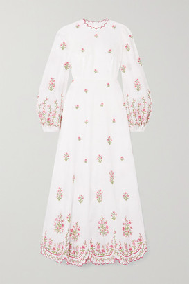 Zimmermann Poppy Scalloped Embroidered Linen Midi Dress - Ivory