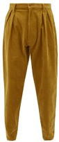 E. Tautz Chore Cotton-corduroy Tapered Trousers - Mens - Yellow