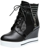 SFCSFLY Women's Round Toe Lace Up High Top Wedge Heels Fashion Sneakers Platform Girls Shoes Size 10 EU40