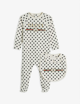 Gucci Logo-print cotton baby grow and bib set 0-24 months