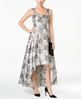 Betsy & Adam Brocade Floral-Print High-Low Gown