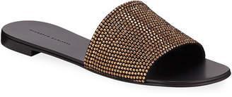 Giuseppe Zanotti Crystal-Studded Flat Slide Sandals