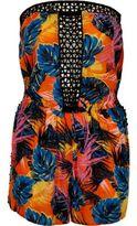 River Island Womens Orange tropical lace insert bandeau romper