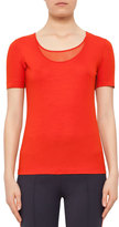 Akris Punto Short-Sleeve Mesh-Knit Top, Rust