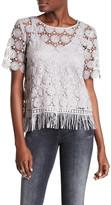 Ella Moss Crochet Overlay Short Sleeve Shirt