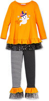 Bonnie Jean Little Girls' 2-Pc. Halloween Ghost Witch Tunic & Leggings Set