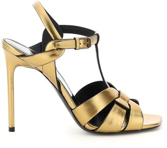 Saint Laurent TRIBUTE DARK GOLD SANDALS 36 Gold Leather