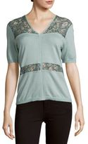 Yigal Azrouel Orchid Lace-Inset Silk & Cashmere-Blend Top