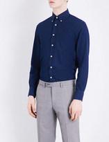 Canali Slim-fit star-embroidered denim shirt