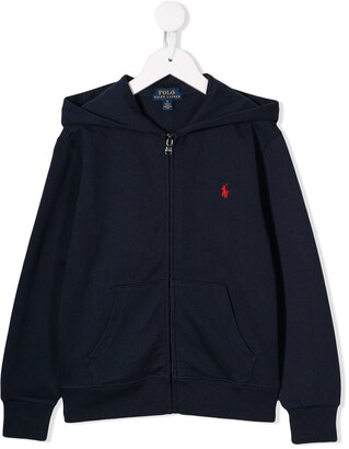 Ralph Lauren Kids embroidered logo zip-up hoodie