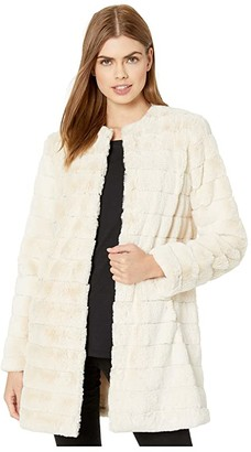 BB Dakota Anything For You Grooved Faux Fur Coat (Ivory) Women's Coat