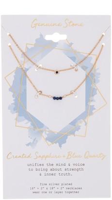 La Rocks Created Sapphire & Blue Quartz Necklace Set