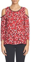 CeCe Women's Gravity Ditsy Print Cold Shoulder Blouse