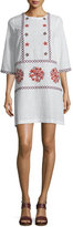 Suno Embroidered 3/4-Sleeve Tunic Dress, Cream