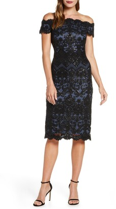 Tadashi Shoji Off the Shoulder Sequin Lace Cocktail Dress