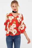 Girls On Film Red Floral Print Tie Sleeve Blouse
