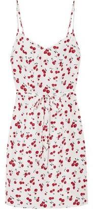 HVN Tie-front Silk Crepe De Chine Mini Dress