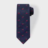 Paul Smith Men's Navy Embroidered Cherry Narrow Silk Tie