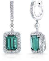 Ice 3 5/8 CT TW Green Tourmaline 14K White Gold Halo Dangle Earrings with Diamond Accents
