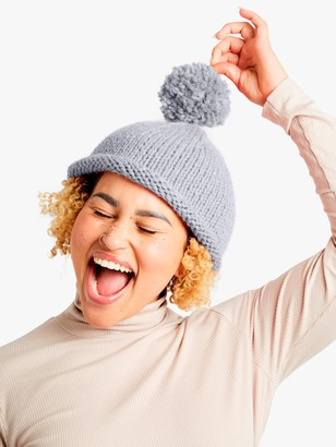 Wool And The Gang Reese Beanie Hat Knitting Kit, Grey