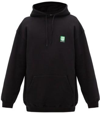 Balenciaga Green Logo-print Hooded Cotton Sweatshirt - Mens - Black