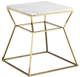Pangea Home Gold Geo Marble Top Side Table, White