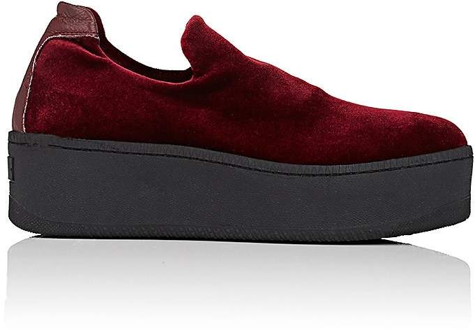Womens Velvet Platform Slip-On Sneakers Barneys New York gmYsx