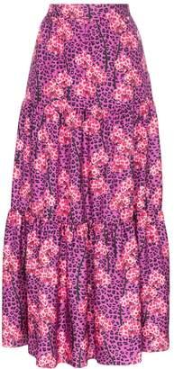 Borgo de Nor Pia leopard orchid print tiered maxi skirt