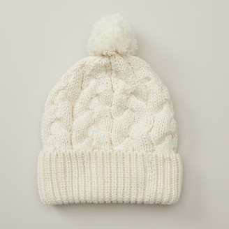 Love & Lore Love And Lore Sustainable Style Eco Cable Knit Pom Hat Ivory White