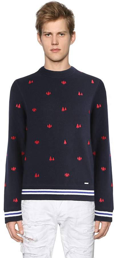 DSQUARED2 Trees Embroidered Slub Wool Knit Sweater