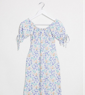 Wednesday's Girl mini dress with tie sleeves in vintage floral