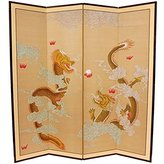 Oriental Furniture Martial Arts Accessories, 6-Feet Dragons Asian Art Hand Painted Floor Screen Room Divider, 72 by 72-Inch