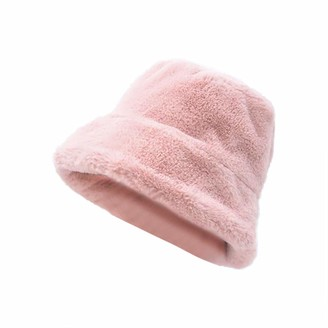 Tyoby Ladies Bucket Hat Faux Fur Vintage Cute Wide Brim Fluffy Hat(Silver one size)