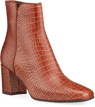 Aquatalia Denisse Moc-Croc Zip Ankle Booties