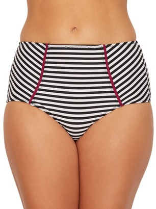 Pour Moi? Sea Breeze Stripe High-Waist Control Bikini Bottom