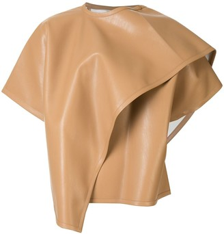 we11done Faux Leather Wrap Poncho